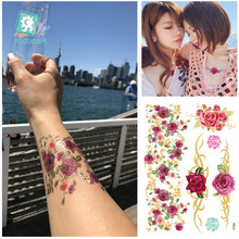 цена VT365/Latest 2015 body temporary gold silver foil metallic flash tattoos rose онлайн в 2017 году