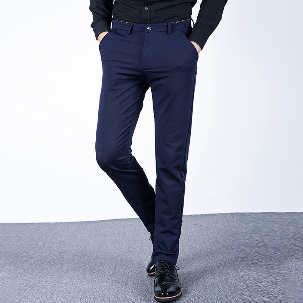 All-match Solid Color Long Pants Men's Straight Slim Fit Flat Front Trousers
