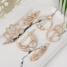 Fashion Woman Hair Accessories Triangle Hair Clip Pin Metal Geometric Alloy Hairband Moon Circle Hairgrip Barrette Girls Holder(China)