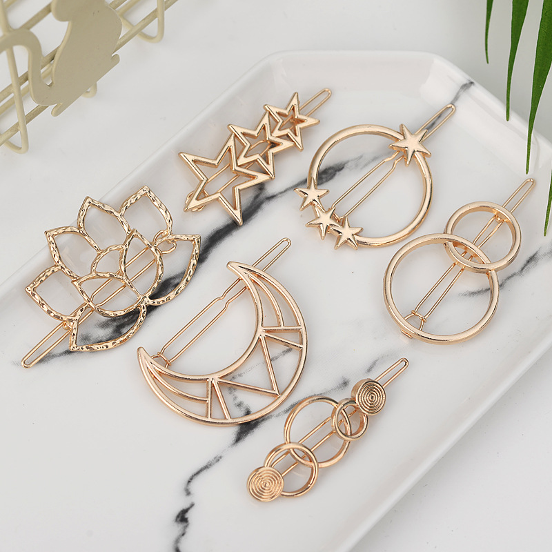 Fashion Woman Hair Accessories Triangle Hair Clip Pin Metal Geometric Alloy Moon Circle Hairgrip Barrette Girls Headwear
