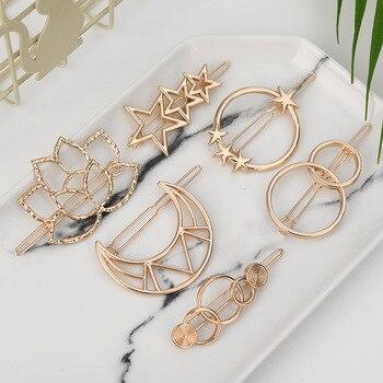 Fashion Woman Hair Accessories Triangle Clip Pin Metal Geometric Alloy Moon Circle Hairgrip Barrette Girls Headwear