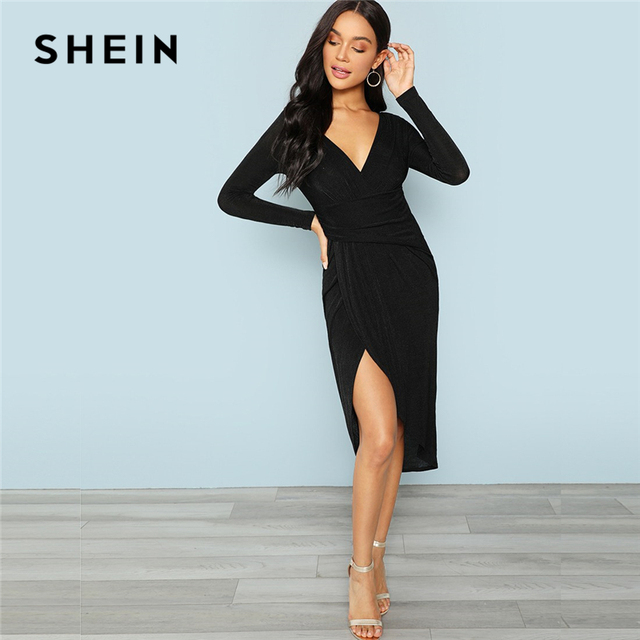 1ff639a4984 SHEIN Black Office Lady Party Plunging Neck Wrap Split Front Long Sleeve  Solid Casual Dress 2018 Autumn Elegant Women Dresses