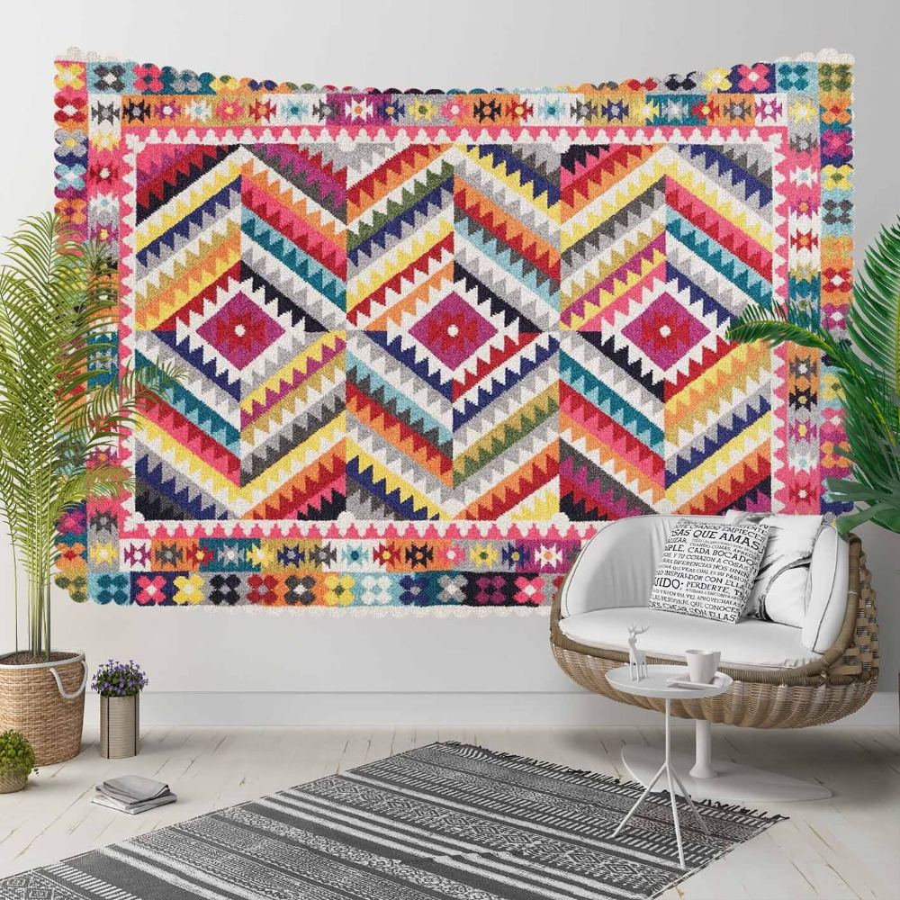 Else Red Yellow Blue  Ethnic Turkish Kilim Design 3D Print Decorative Hippi Bohemian Wall Hanging Landscape Tapestry Wall Art