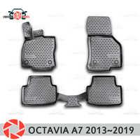 Tappetini per Skoda Octavia A7 2013 ~ 2019 tappeti antiscivolo poliuretano sporco di protezione interni car styling accessori