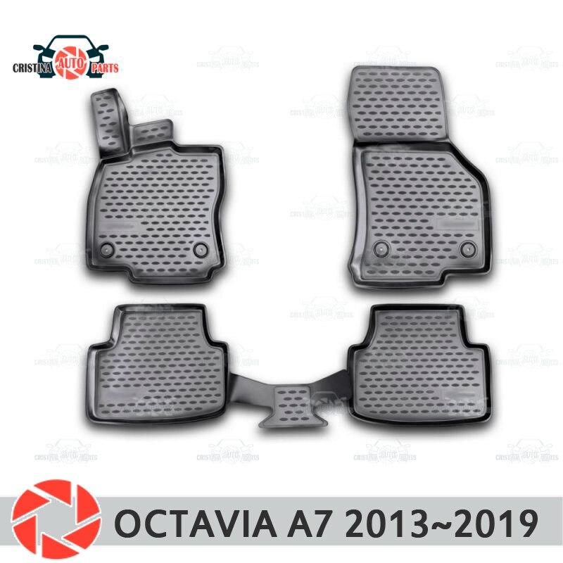 Alfombras de piso para Skoda Octavia A7 2013 ~ 2019 alfombras antideslizantes de poliuretano tierra protección interior estilo de coche accesorios
