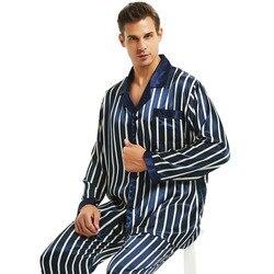 Мужская шелковая атласная пижама, пижамный комплект, пижама, домашняя одежда, S ~ 4XL, в полоску