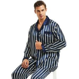 Image 1 - メンズシルクサテンパジャマセットパジャマセット PJS パジャマ部屋着 S 〜 4XL ストライプ
