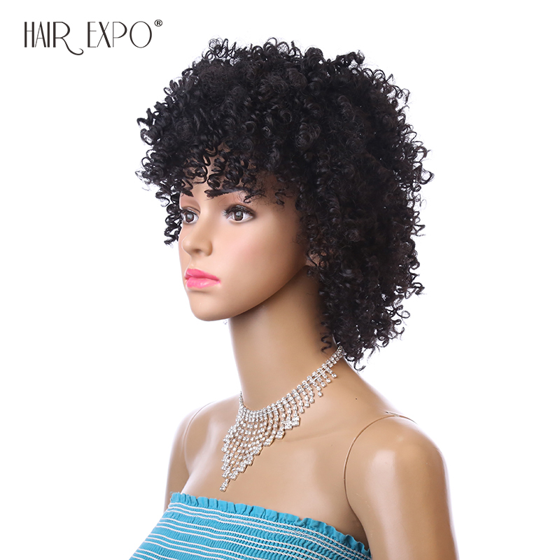 Image 3 - 6inch Short Kinky Curly Wig Afro Synthetic Wigs African Hairstyle For Black Women Hair Expo CitySynthetic None-Lace  Wigs   -