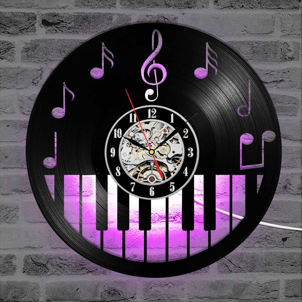 中空ピアノ Keybord ビニール記録クロッククリエイティブとアンティークスタイル黒ラウンド Led ウォール時計音楽ピアノ装飾アートクロック