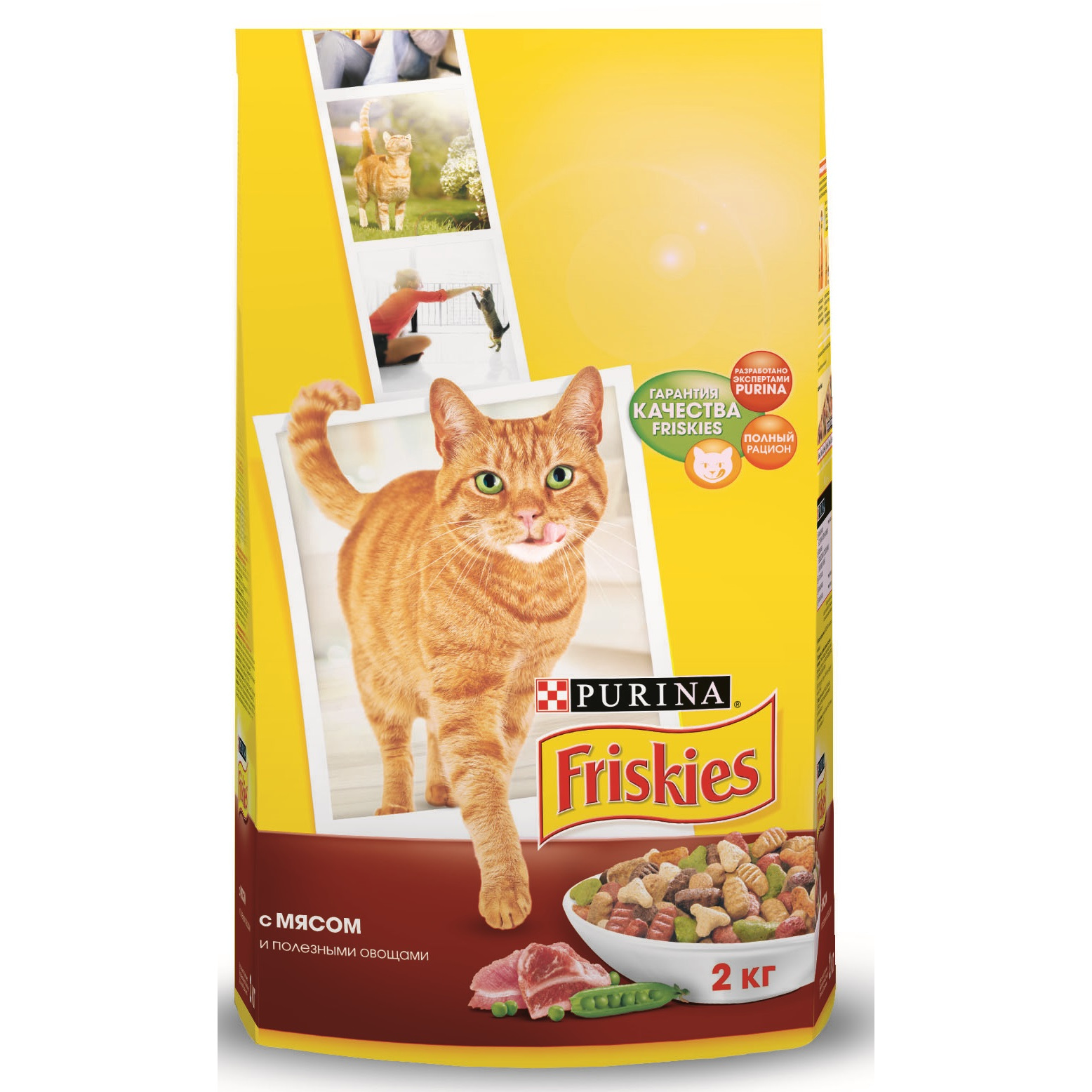 все цены на A set of dry food Friskies for adult cats with meat and healthy vegetables, Package, 2 kg x 6 pcs. онлайн