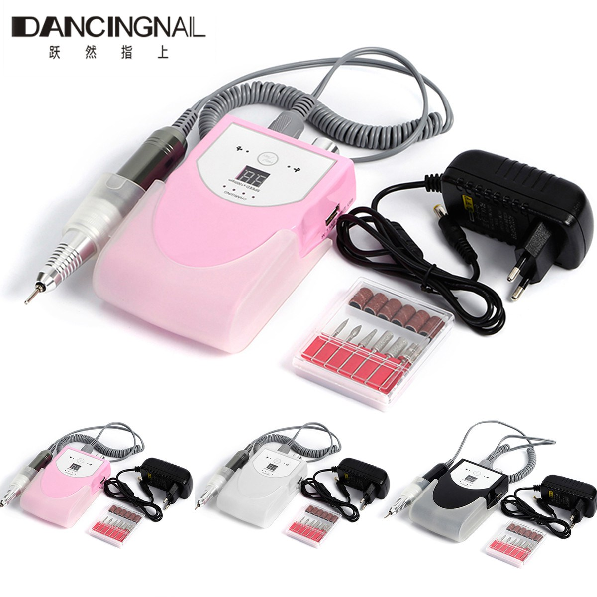 Rechargeable 30000RPM Electric Nail Drill Machine Acrylic Nail File Polishing Polisher Cordless Manicure Pedicure Kit Set 2017 manicure nail polishing file wax brush purple off white 2 pcs