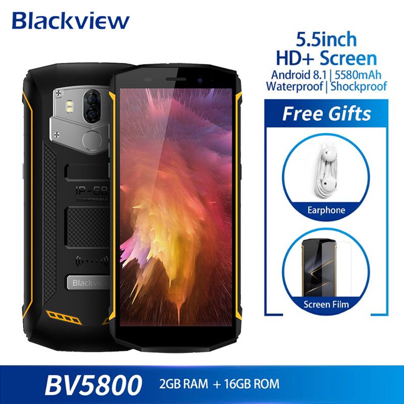 Blackview BV5800 Dual 4G Smartphone IP68 Waterproof 5.518:9 Full Screen Android 8.1 Mobile Phone 13MP NFC GPS 5580mAh CellphoneBlackview BV5800 Dual 4G Smartphone IP68 Waterproof 5.518:9 Full Screen Android 8.1 Mobile Phone 13MP NFC GPS 5580mAh Cellphone