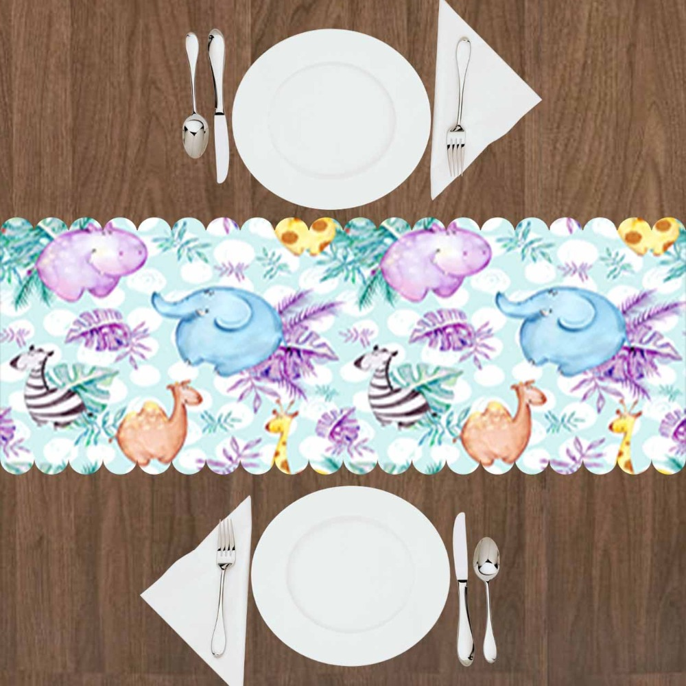 Else Purple Floral Green Leaf Zebra Giraffe Elephants 3d Print Pattern Modern Table Runner  For Kitchen Dining Room Tablecloth