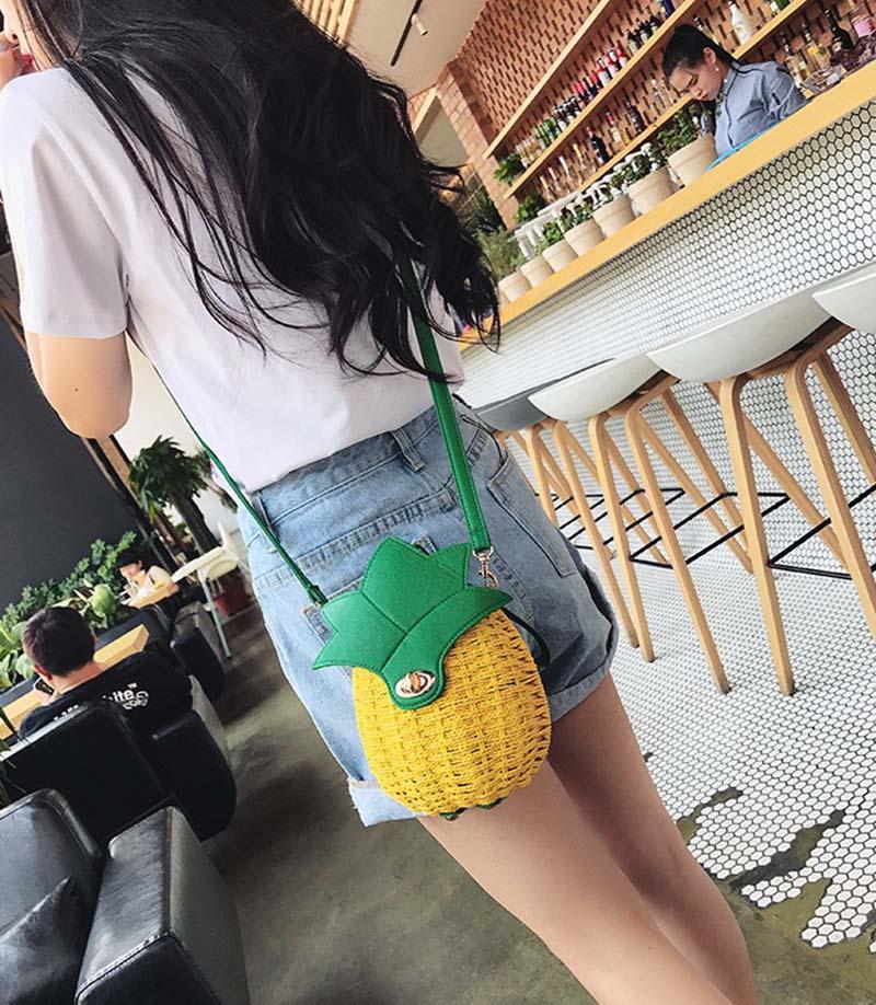 Women Pineapple Handbag Female Messenger Bags Straw Beach Crossbody Bag Lady Fashion Rattan Clutches Tote Knitted SS3010 (12)