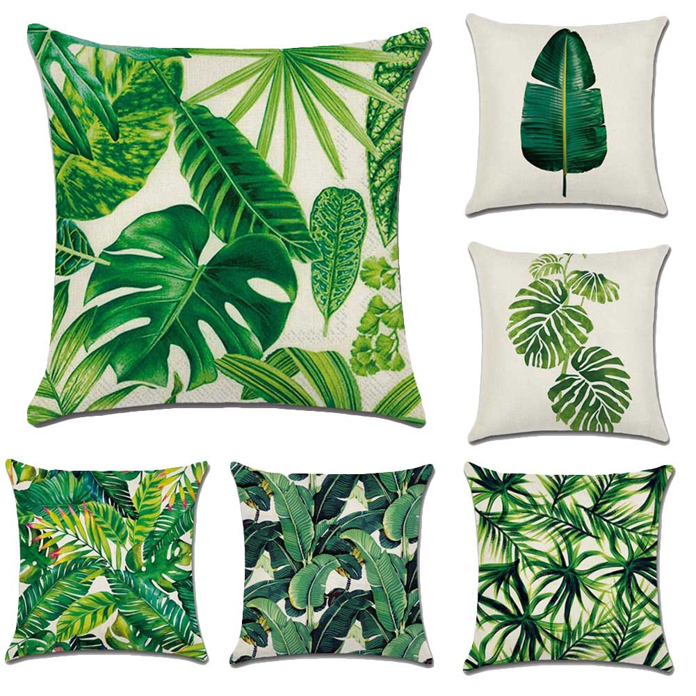 Tropical Rainforest Plants Printing Linen/Cotton Soft Sofa Bed Cushion Cover Nap Throw Pillow Case Decorbox Home Decor Supplies