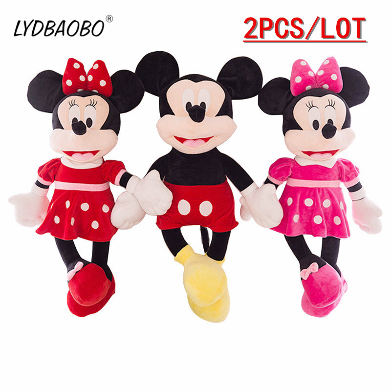LYDBAOBO 2PCS/LOT 40CM Stuffed Animals Plush Toys Cartoon Figure Kids Doll Cute Mickey Mouse And Minnie Mouse Children Kid Gift