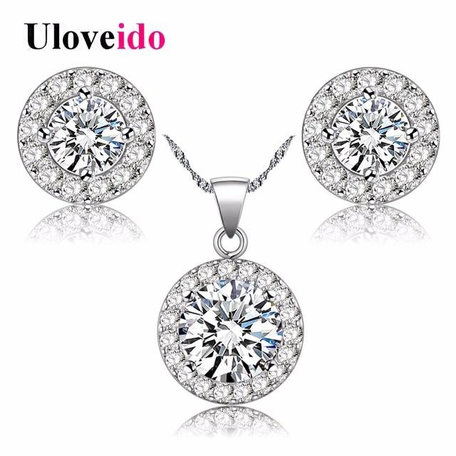 Fashion Wedding Jewelry set Silver Necklaces Earrings Jewelry Sets Women's Zircon Engagement Jewellery Gift Girlfriend JST001