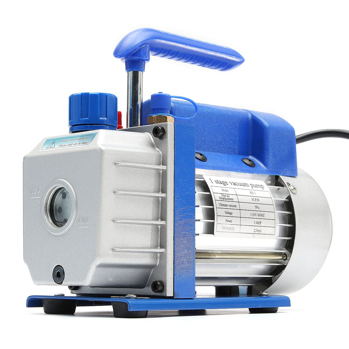 200ml 60HZ 3CFM 5Pa Single Stage Vacuum Pump Rotary Vane Low Pressure 1/4HP Air Conditioning Tool System Refrigeration Tools
