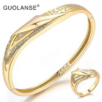 GUOLANSE Party Wedding Bangle Ring Set Saudi Arabic Dubai Women Gold Silver Color Bangles Rings Sets