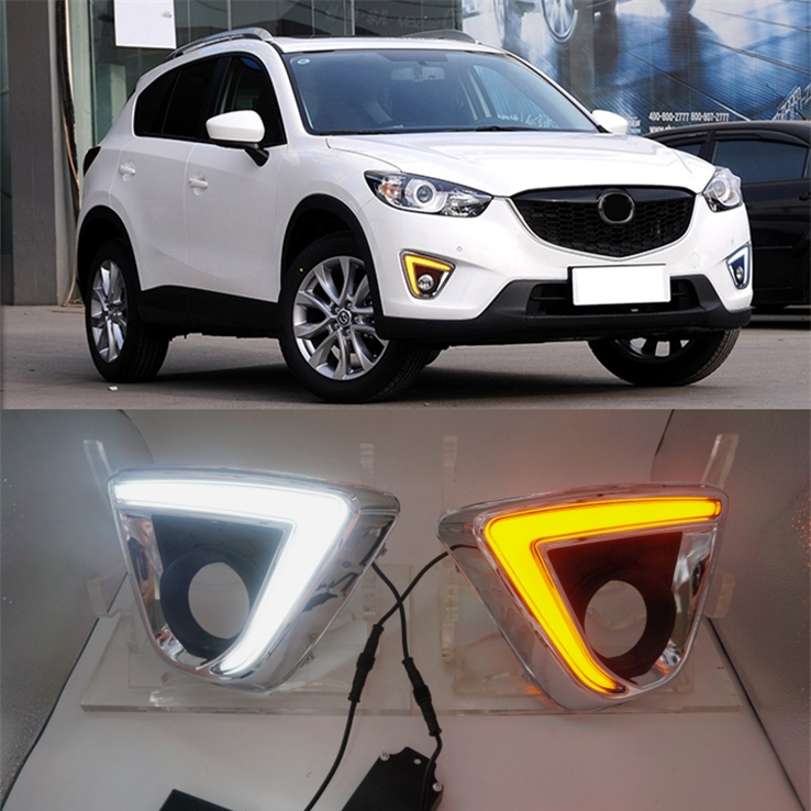 for Mazda cx-5 cx5 CX5 2012-2016 DRL car led daytime running giide lights turn signal and dimmer style 12V fog lamp freeshiping 2pcs set led drl daylight lamp daytime running lights car drl led kit for mazda cx 5 cx5 cx 5 2012 2013 2014 2015