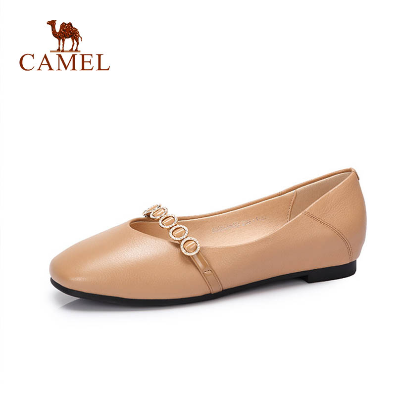 CAMEL Women Simple Casual Single Mary Janes Shoes Ladies Genuine Leather Shallow Buckle Low Pumps Female
