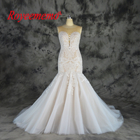 2019 nude satin lining and ivory lace wedding dress classic style wedding gown custom made wholesale price mermaid bride dress