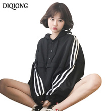 Diqiong Oversized 2017 Fashion Spring Autumn Women Long Sleeve Self-tie Pockets Pullover Hooded Loose Casual Hoodies Sweatshirts