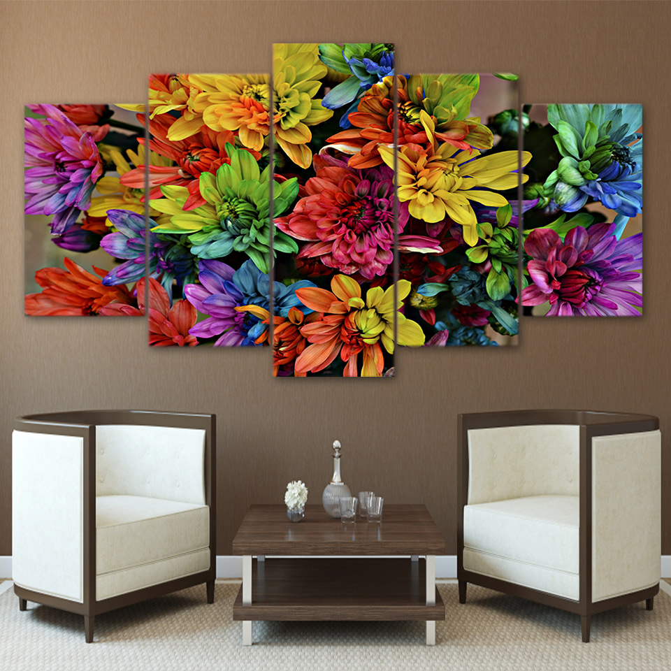 5 Pieces Colorful Chrysanthemum Flower Modular Wall Art