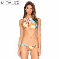 NIDALEE Hot Sale Summer Geometry Printed Sport Bikini Women Swimwear Bikini Set Swimsuit Brazilian Bottom Maillot