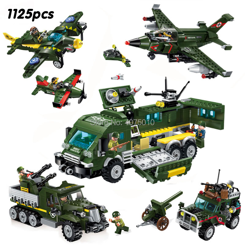compatible legoeinglys Military World War 2 bomber tank bombing enemy Command Center Army soldier Weapons Building block toy 3 6 garden dreams 4620769392725
