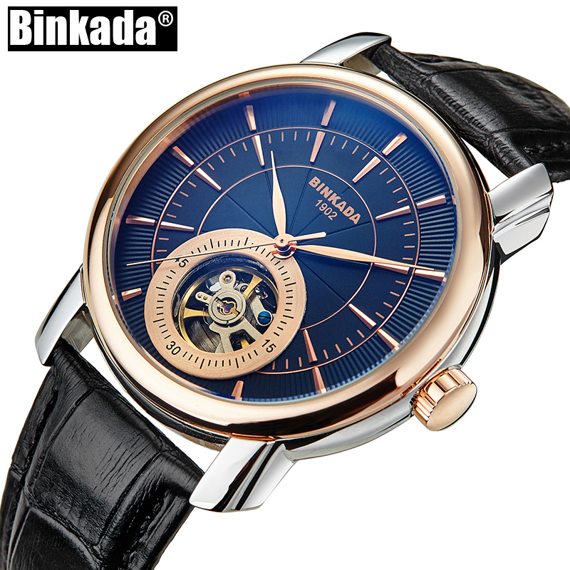 New Fashion BINKADA Men Automatic Mechanical Watch High Quality Self-Wind Man Skeleton Automatic Casual Analog Wristwatch k colouring women ladies automatic self wind watch hollow skeleton mechanical wristwatch for gift box