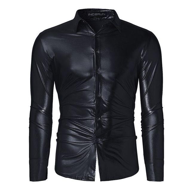 Online Shop 2017 Shirt Men Shiny Casual Black/Golden/Silver Slim ...