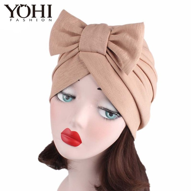 7a73e8ee173 New arrival fashion Big Bow Turban Women s Hats Women Bow Hat Beanie Scarf  Turban Head Wrap chemo Cap for ladies