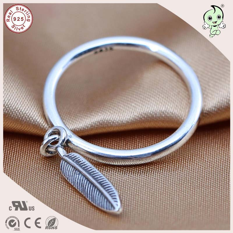 Wonderful Hot Sale High Quality Punk Style Retro 100 925 Solid Silver Feather Pendant Ring in Rings from Jewelry Accessories