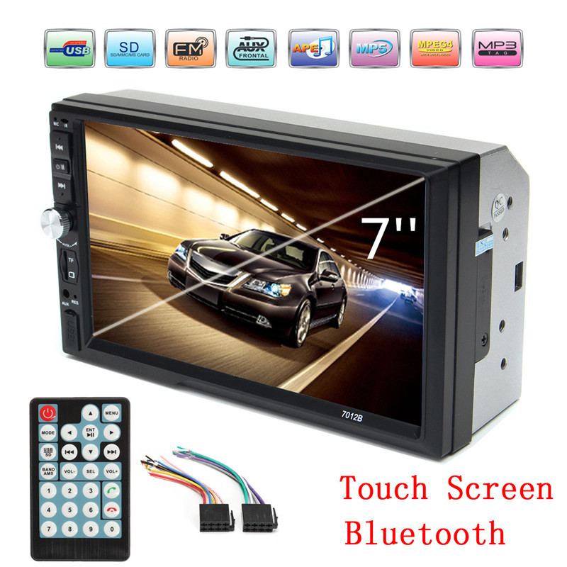 2 Din 7 TFT 1080P HD Touch Screen Bluetooth Car MP5 Video Player 12V Car Audio Radio FM USB SD AUX IN Support Rear View Camera 7inch 2 din hd car radio mp4 player with digital touch screen bluetooth usb tf fm dvr aux input support handsfree car charge gps
