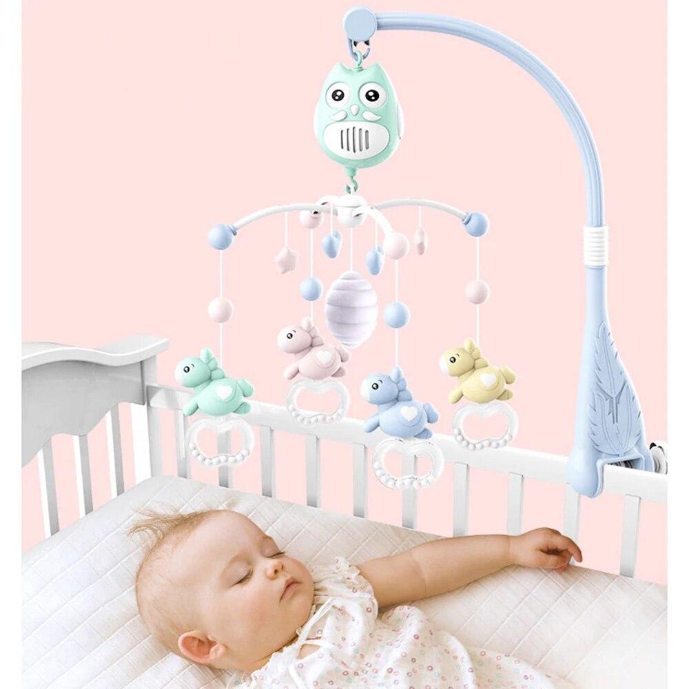 Bébé musique lit cloche bébé jouets hochets berceau Mobiles support de jouet rotatif lit de berceau cloche avec boîte à musique 0-1 Y