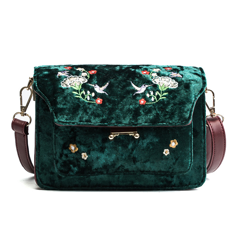 Retro wild embroidery female packet 2018 new gold velvet small square bag casual shoulder bag Messenger bag tide qiaobao 2018 new korean version of the first layer of women s leather packet messenger bag female shoulder diagonal cross bag