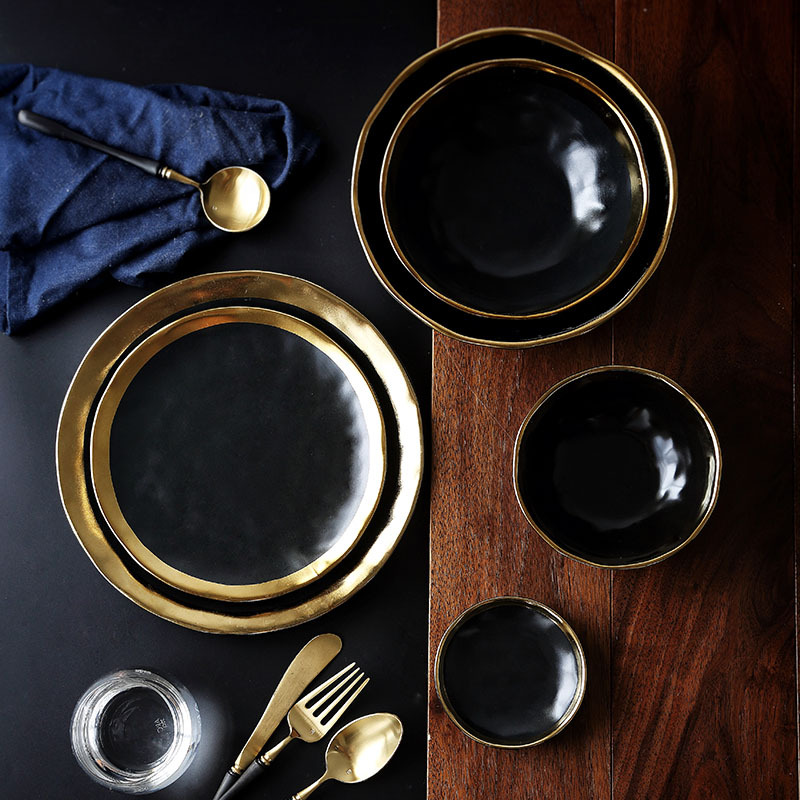 Ceramic Plate dish set Black Tableware Set Porcelain Service plate Kitchen Appliances Kitchen Supplie Rice Soup Bowl Dinnerware