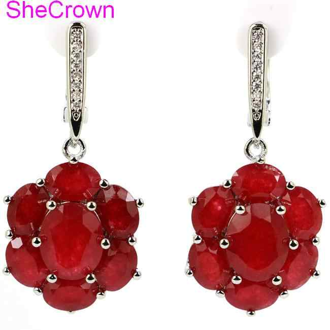สวยจริงสีแดงทับทิมธรรมชาติสีขาว CZ ผู้หญิง SheCrown เงินต่างหู 38x17 มม.