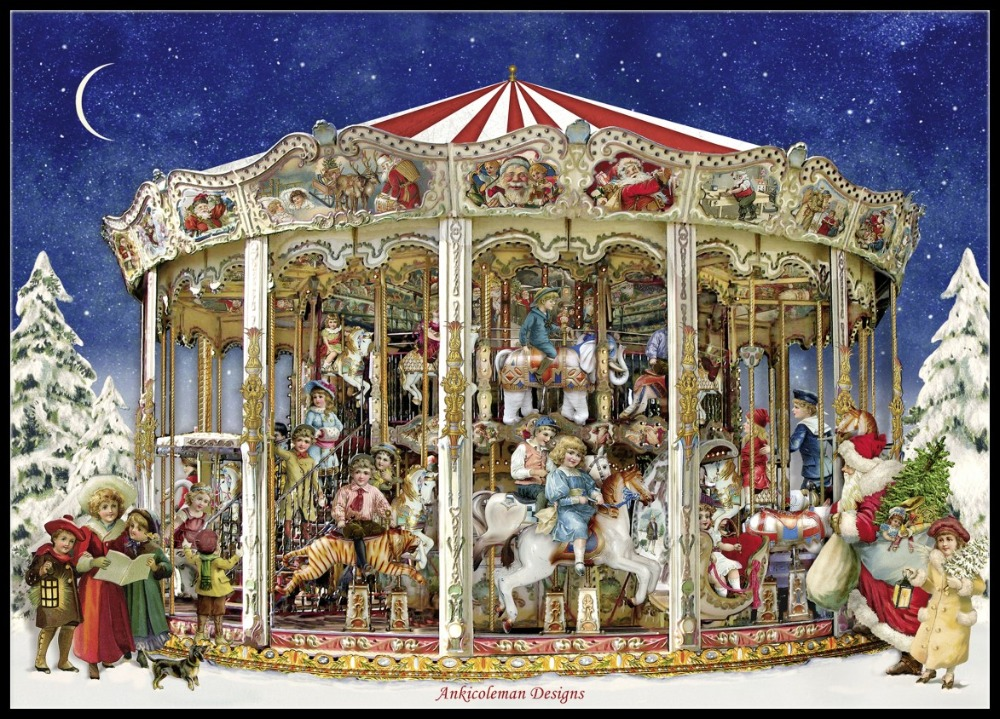 The Christmas Carousel - Counted Cross Stitch Kits - DIY Handmade Needlework For Embroidery 14 Ct Cross Stitch Sets DMC Color