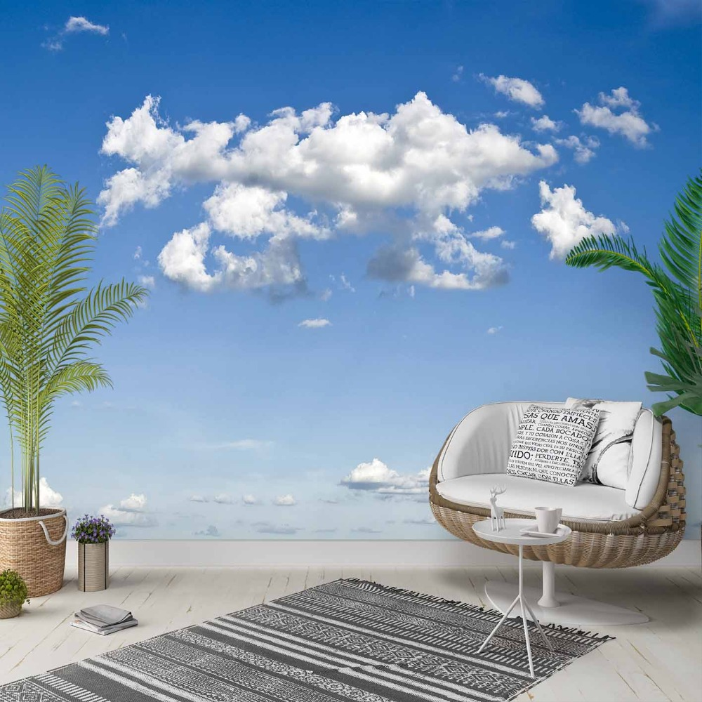 Else White Clouds Blue Sky Nature Sunny Day 3d Photo Cleanable Fabric Mural Home Decor Living Room Bedroom Background Wallpaper