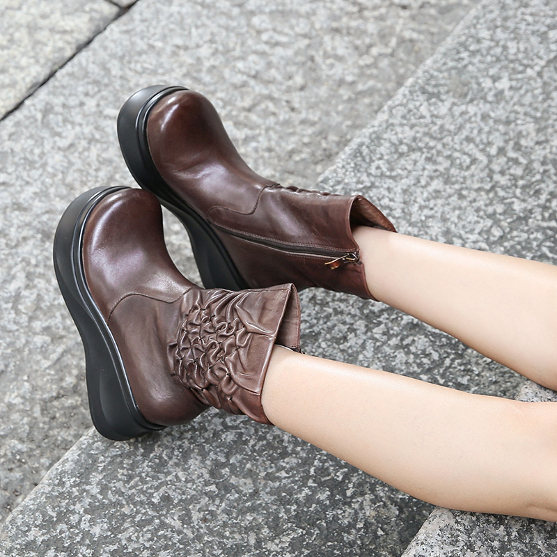 Pleated Flower Boots For Women VALLU Real Cow Leather New Design Female Wedge Booties High Platform Casual Lady Shoes недорго, оригинальная цена