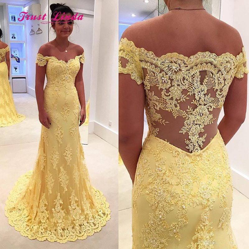 Us 117 83 12 Off Lace Wedding Party Dress The Shoulder Floor Length Yellow Guest Long For Woman In