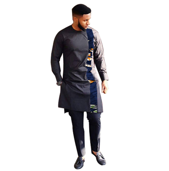 Fashion African Print Clothing Men Tops+Trousers Set Shirts And Pants Sets Festive Costume African Men Clothes Customize 3