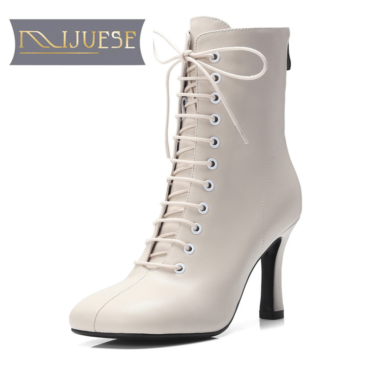 Ayakk.'ten Ayak Bileği Çizmeler'de MLJUESE 2019 kadın yarım çizmeler inek deri kahverengi renk dantel up sonbahar binici çizmeleri toynak topuklu yüksek topuklu bayan botları'da  Grup 1
