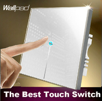 LED Wallpad 1 Gang 2 Way Crystal Glass Touch Switch 110V 220V White Light Wall Switch