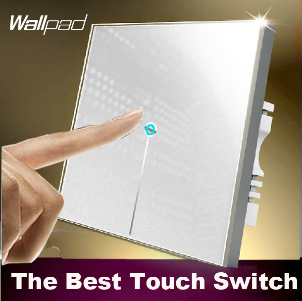 LED Wallpad 1 gang 2 way Crystal Glass touch switch 110V~220V, White Light wall switch touch, Free Customize LOGO,Free Shipping 10a universal socket and 3 gang 1 way switch wallpad 146 86mm white crystal glass 3 push button switch and socket free shipping