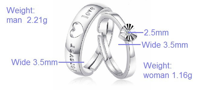 Sona Engagement Romantic Wedding Ring Silver Color Vintage Rings Set for Women Engagement Ring for Adjustable Couple Ring J486