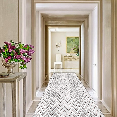 Else Pink Black White Bias Lines Geometric 3d Print Non Slip Microfiber Washable Long Runner Mats Floor Mat Rugs Hallway Carpets