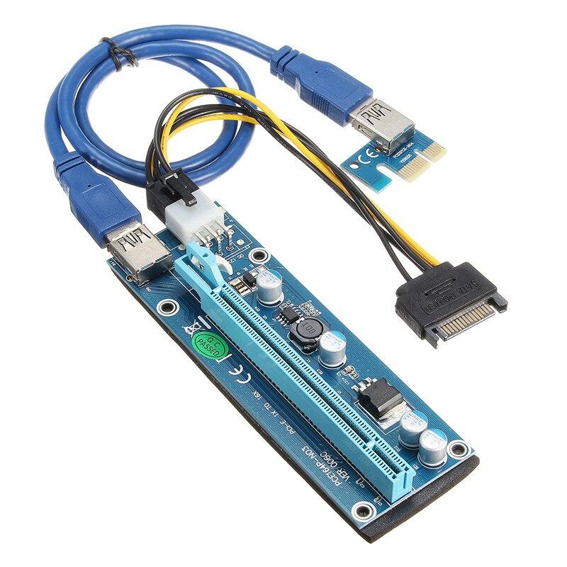 bilder für 5 stücke Neueste 60 CM USB 3.0 15 Pin PCIE PCI-E Express 1X to16X Extender Riser-karte Vorstands Adapter Kabel SATA 15 Pin Stromkabel